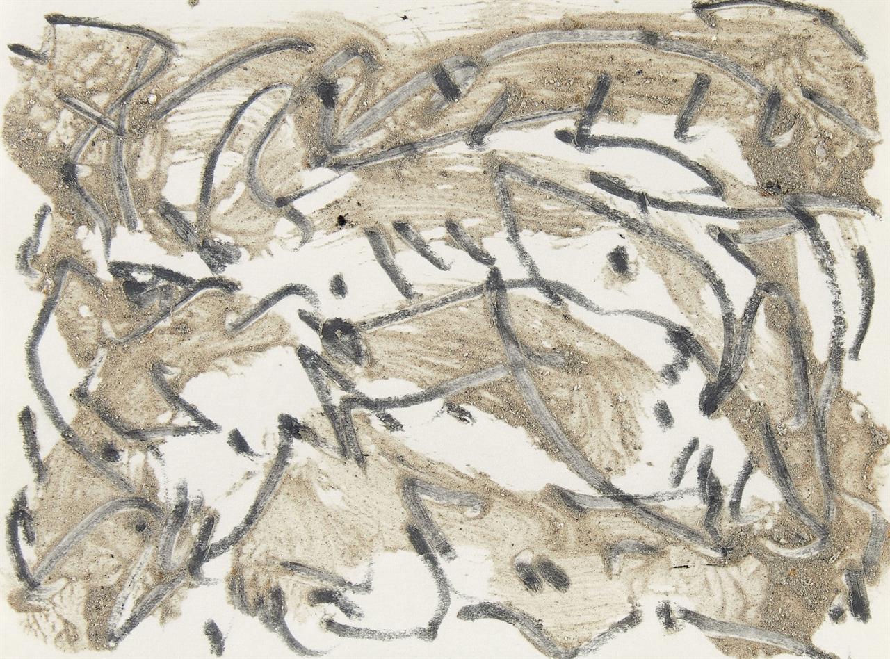 Günther Uecker. Ohne Titel. 1984. 2 Blatt Mischtechnik mit Sand und Graphit auf Papier. Rückwand jeweils signiert und bezeichnet