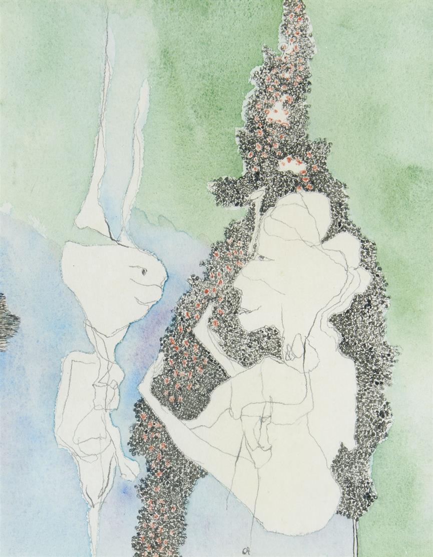 Gerhard Altenbourg. Im Dickicht Halleluja. 1968. Aquarell, Tempera, Chinesische Tusche, Buntstift. Monogrammiert. Verso signiert. Janda 68/30.