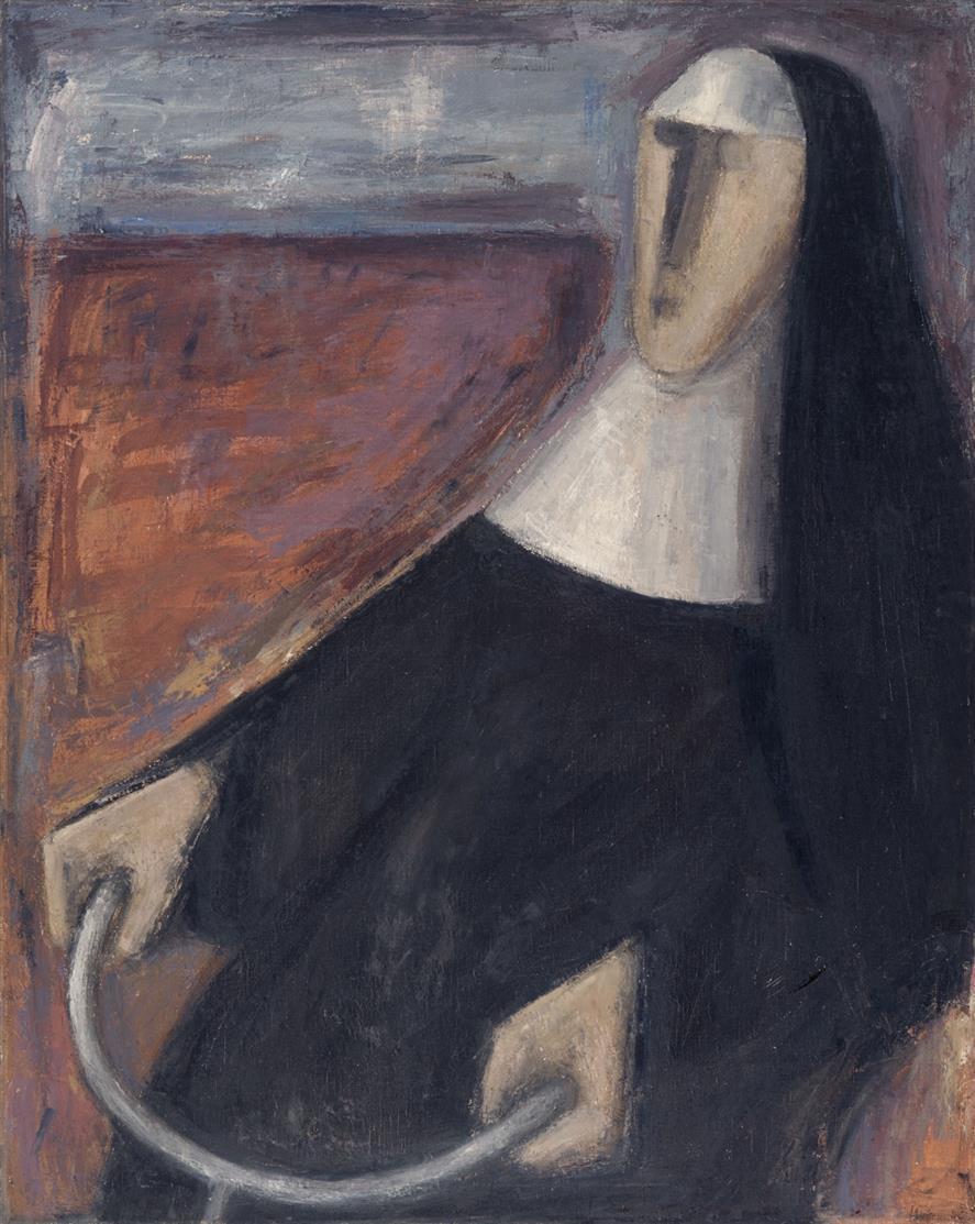 Peter Herkenrath. Ohne Titel (Radfahrende Nonne). 1948. Öl auf Leinwand.