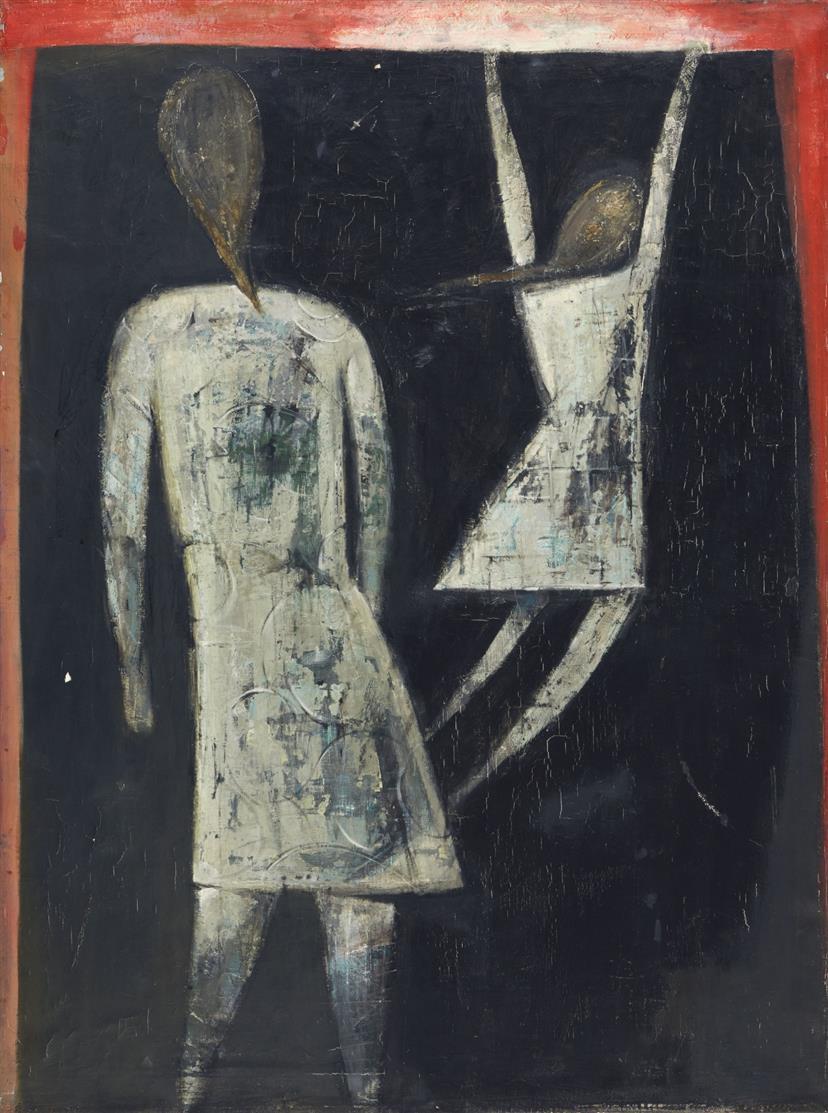 Peter Herkenrath. Ohne Titel (Zwei Figuren). Öl auf Leinwand. Verso signiert.