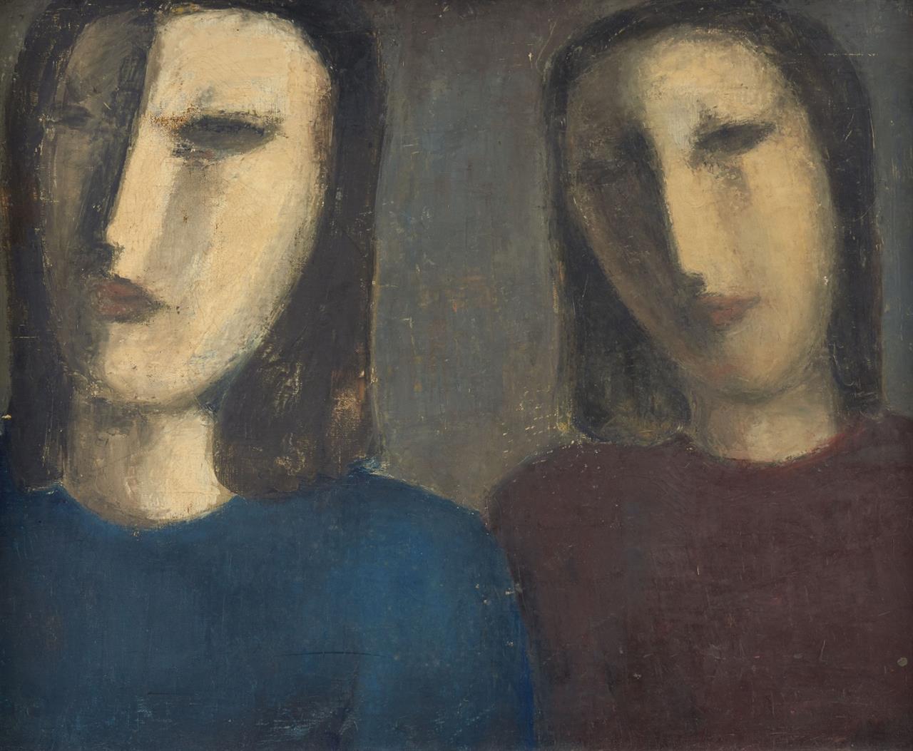 Peter Herkenrath. Ohne Titel (Zwei Frauen). Wohl 1935. Öl auf Leinwand. Verso signiert.