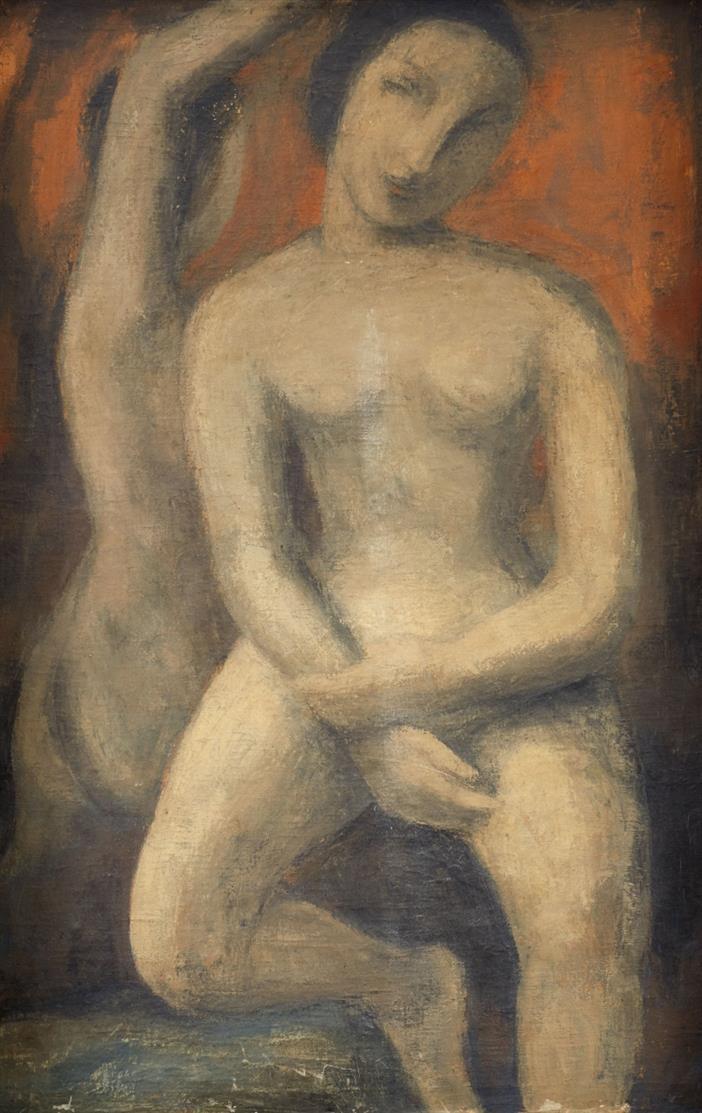 Peter Herkenrath. Ohne Titel (Zwei weibliche Akte). Öl auf Leinwand.