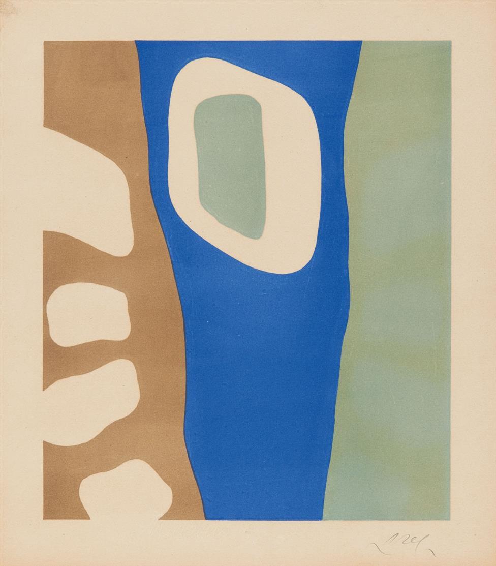 Hans Arp. Coulisses de forêt. 1955. Farblithographie. Signiert. Eines von 250 Ex. Arntz 330 c.