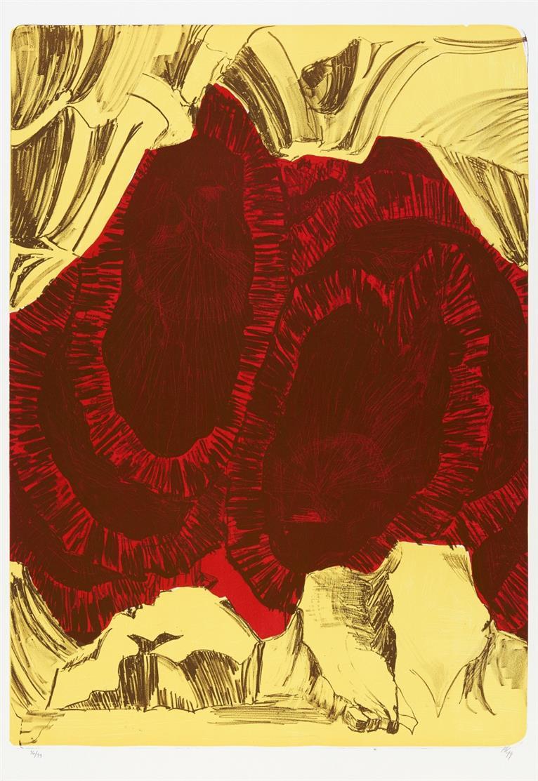 Per Kirkeby. Ohne Titel (Athos). 1999. Farblithographie. Monogrammiert. Ex. 36/99. Wivel 93.