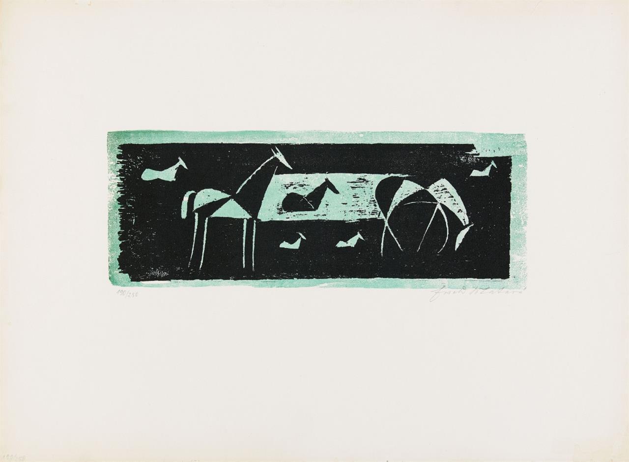 Ewald Mataré. Pferde auf der Weide (Fünf, eigentlich sieben Pferde). 1935 (1953). Farbholzschnitt. Signiert. Ex. 190/250. Mataré/de Werd 328.