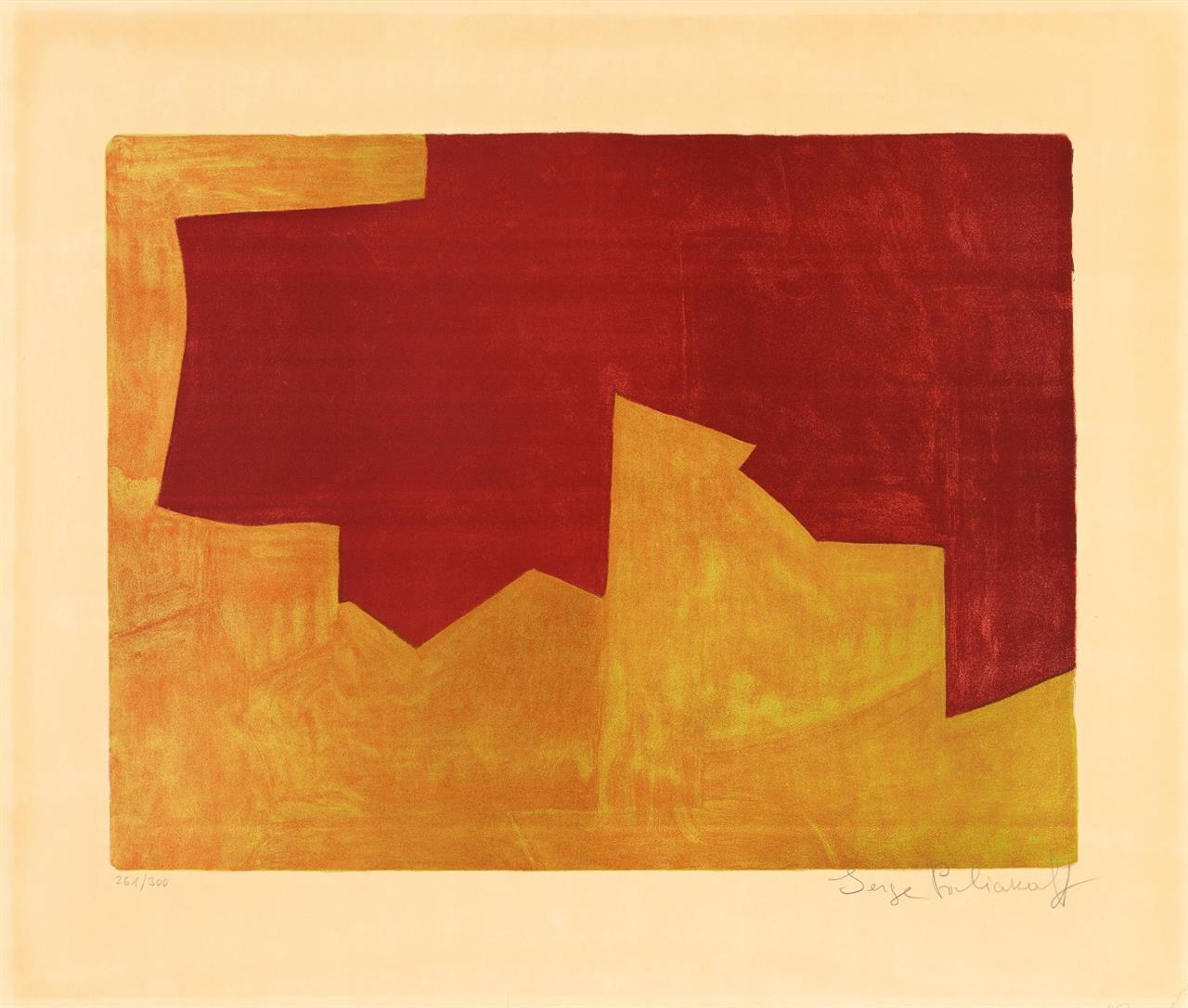 Serge Poliakoff. Komposition in Burgunderrot und Orange. 1963. Farblithographie. Signiert. Ex. 261/300. Poliakoff/Schneider 39.