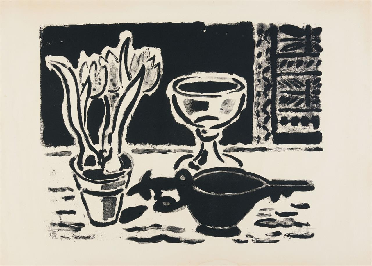 Karl Schmidt-Rottluff. Stillleben mit Krokustopf. Wohl 1953/54. Lithographie. Signiert. Rathenau 38.