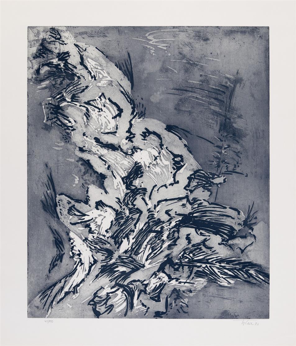 Hann Trier. Vibration 1958 / Ohne Titel 1966 / Ohne Titel 1973. 3 Blatt Farblithographie bzw. Radierung (2). Jeweils signiert bzw. monogr. Ex. 72/250, 25/75 bzw. 40/150.