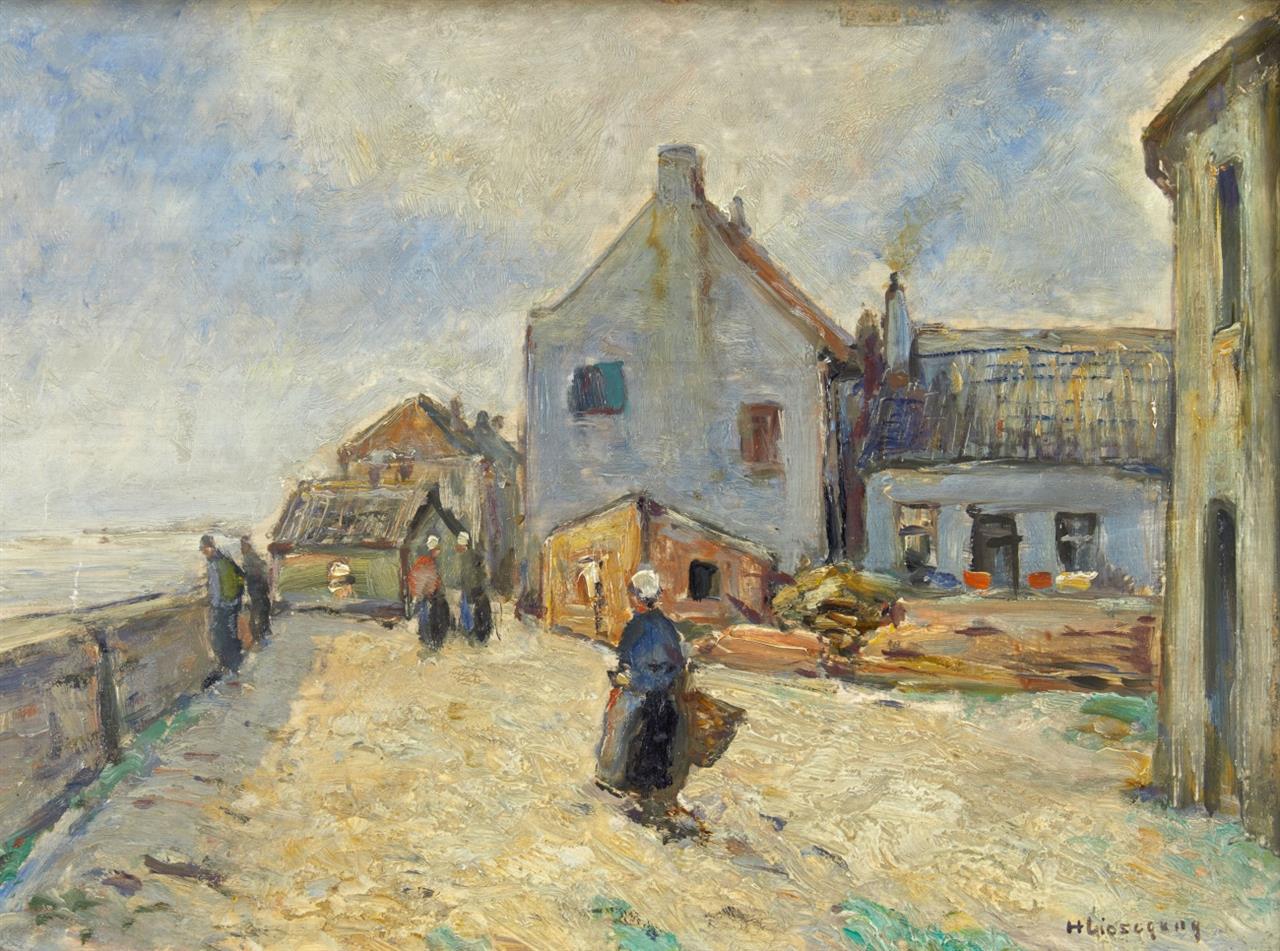 Helmut Liesegang. Das alte Zollhaus in Rees. Öl auf Holz. Signiert.