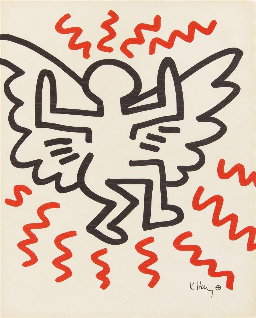 Keith Haring. Aus: Bayer-Suite. 1982. 2 Motive, eines doppelt, eines vierfach vorhanden, insgesamt 6 Blatt Farb-Offsetlithographien. Im Druck signiert.