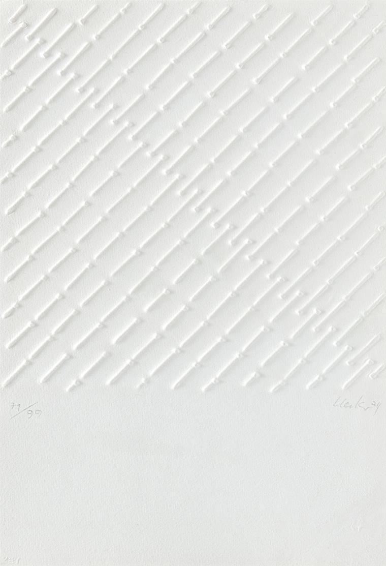 Günther Uecker. Kraftfeld. 1974. Prägedruck. Signiert. Ex. 71/99.