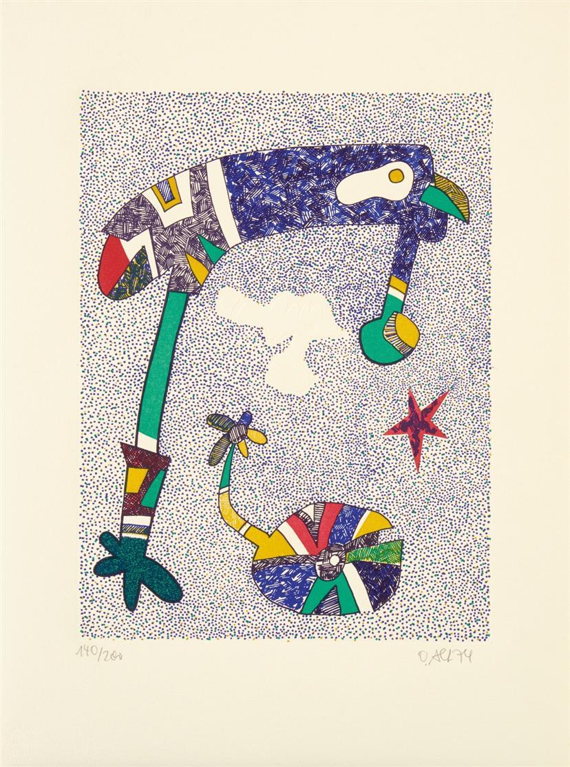 Otmar Alt. Pipe's Party. 1974. 10 Blatt Farb-Zinkographien, in Mappe. Signiert. Je Ex. 140/200.
