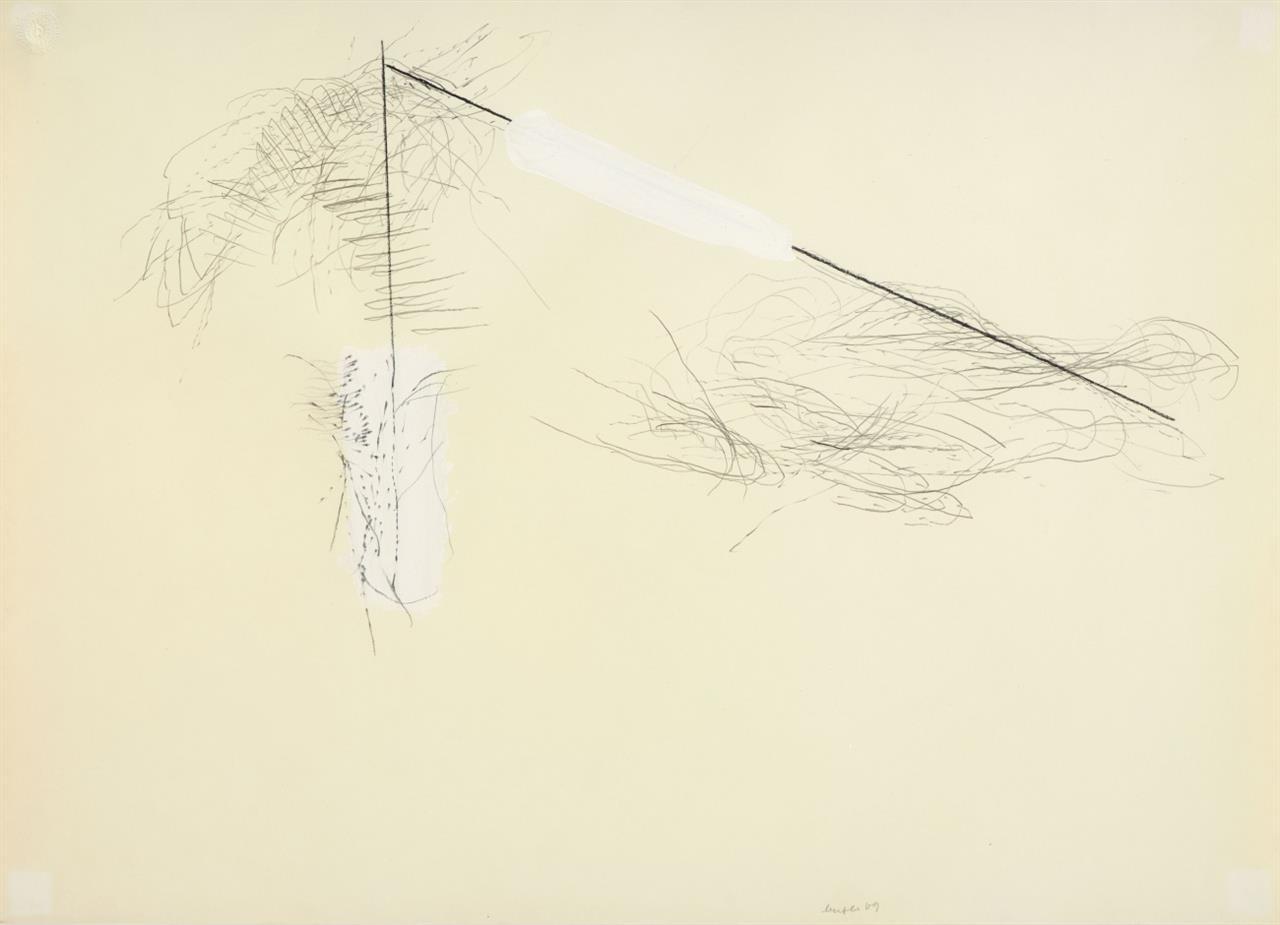 Michael Buthe, Ohne Titel. 1969. Bleistift und Deckweiß auf Papier. Signiert. In überarbeitetem Rahmen.