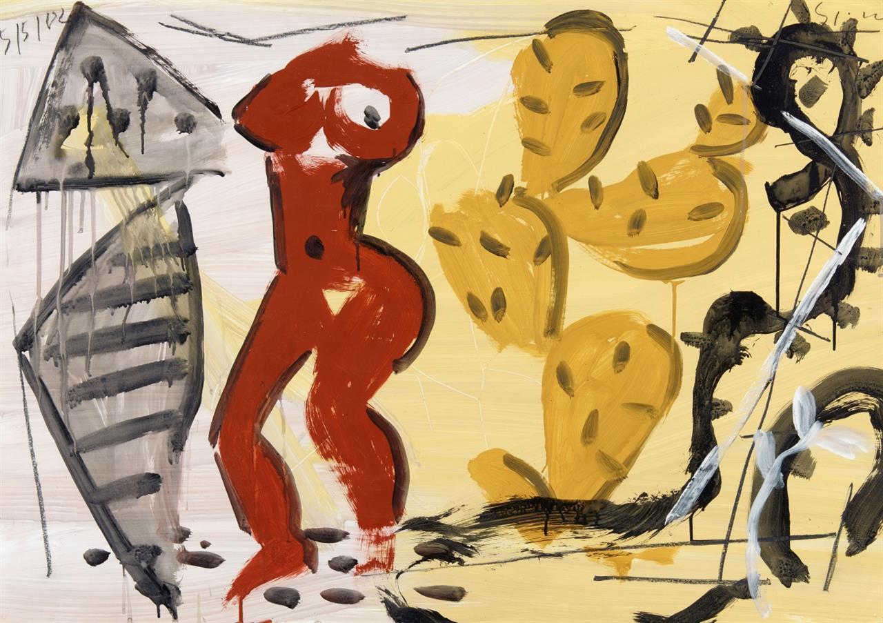 Stefan Szczesny. Ohne Titel (Weiblicher Akt und Kaktus). 2002. Gouache. Signiert.