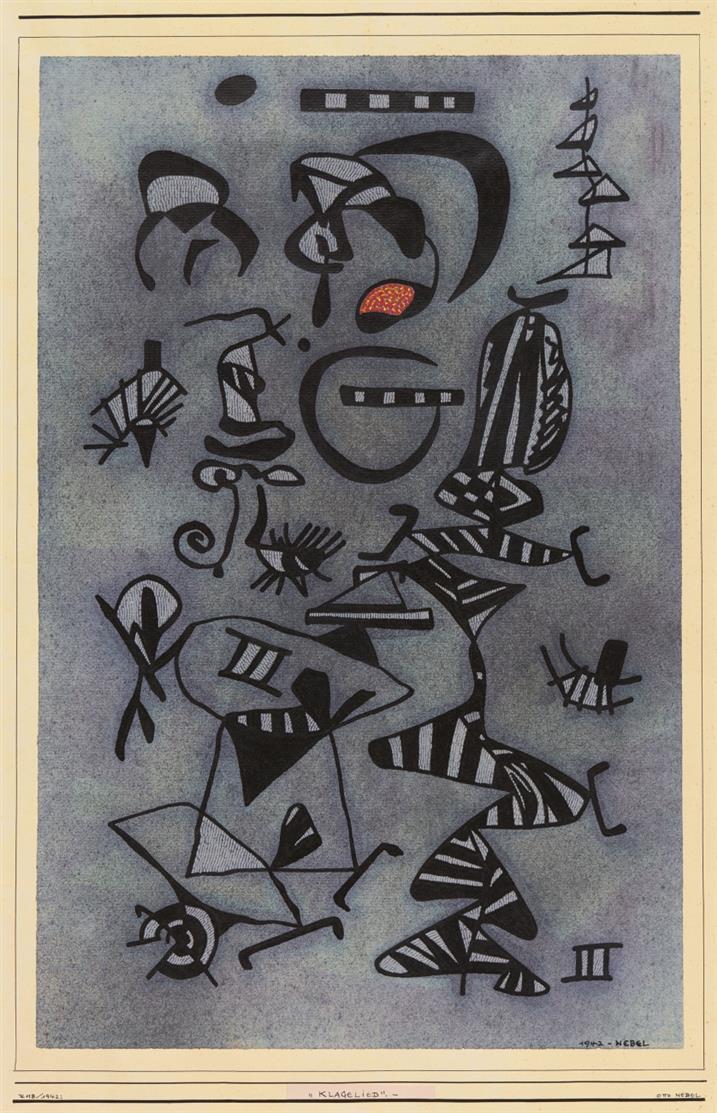 Otto Nebel. Klagelied. 1942. Tusche und Aquarell. Signiert.