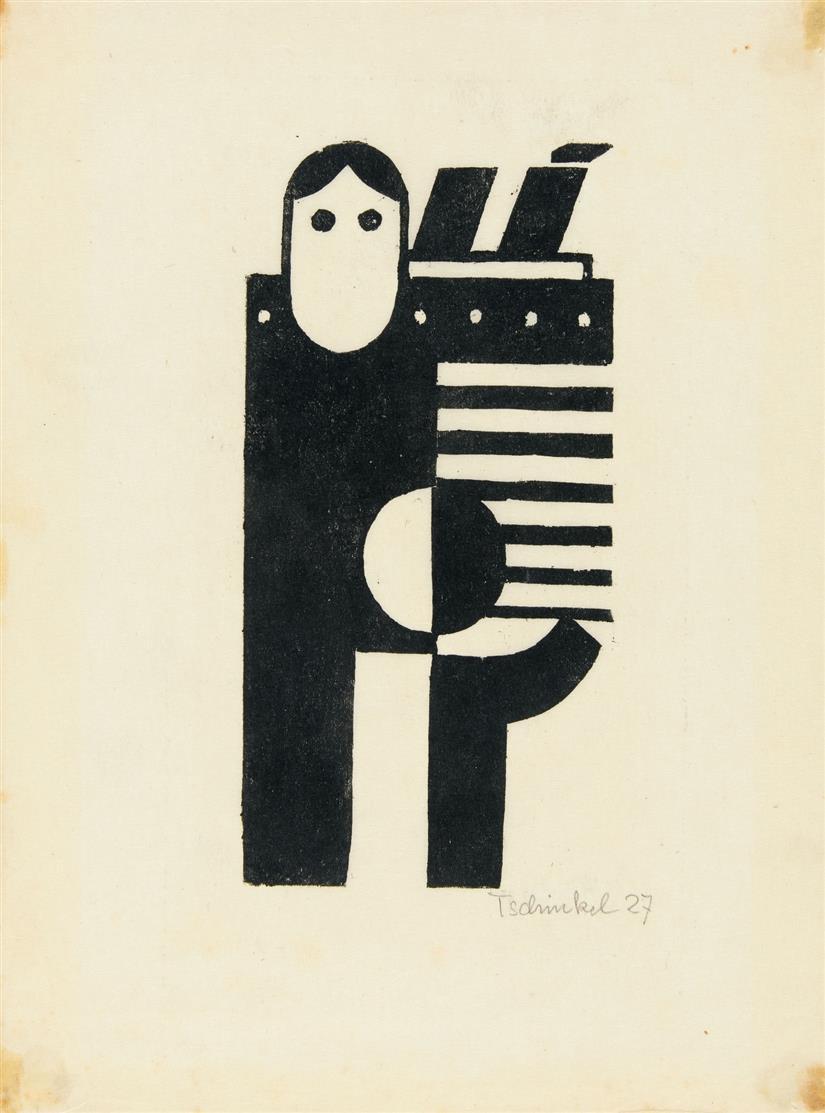 Augustin Tschinkel. Ohne Titel. 1927. Linolschnitt. Signiert. /dazu: Dasselbe. Neudruck 1972. Signiert. Zus. 2 Blatt.