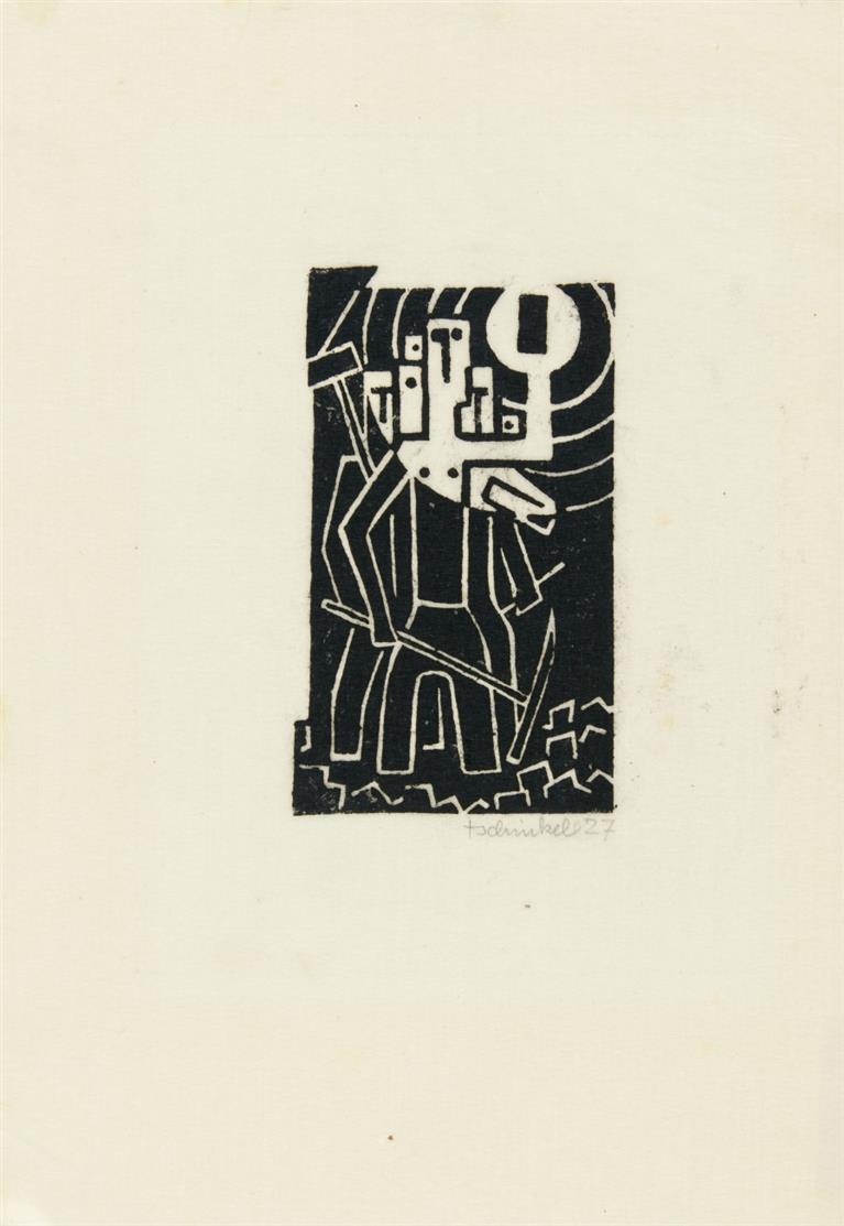Augustin Tschinkel. Ohne Titel (Bergarbeiter). 1927. Linolschnitt. Signiert.