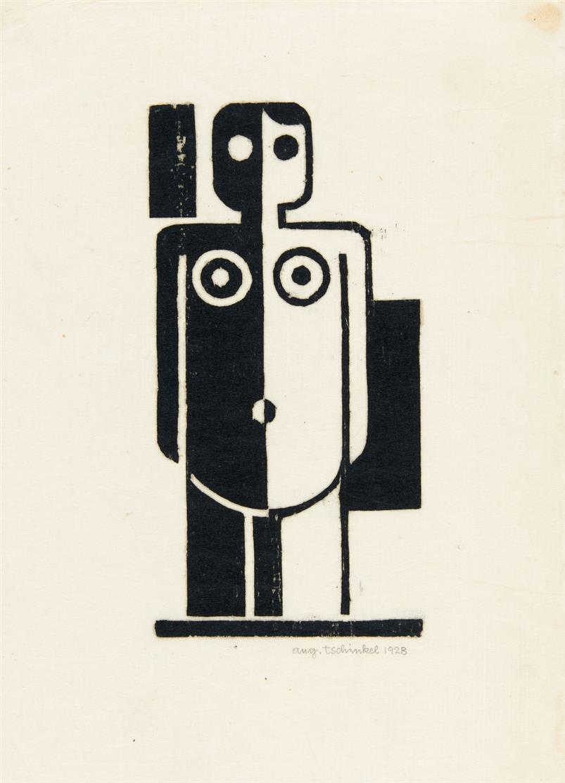Augustin Tschinkel. Ohne Titel (Frau). 1928. Linolschnitt. Signiert.