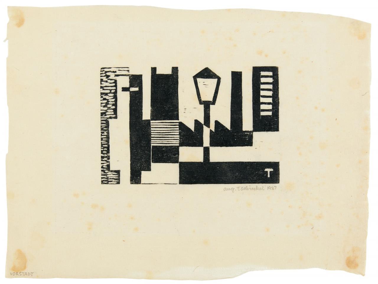 Augustin Tschinkel. Ohne Titel (Häuser mit Laterne). 1927. Linolschnitt. Signiert / Beilage: Ohne Titel (Hinrichtung). Neudruck 1972. Signiert. Zus. 2 Blatt.