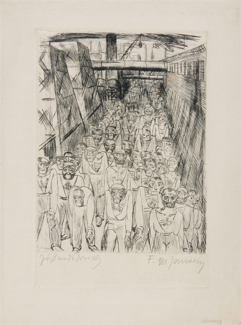 Franz Maria Jansen. Löhnung. 1920. Radierung. Signiert. Zustandsdruck. Merholz 192.