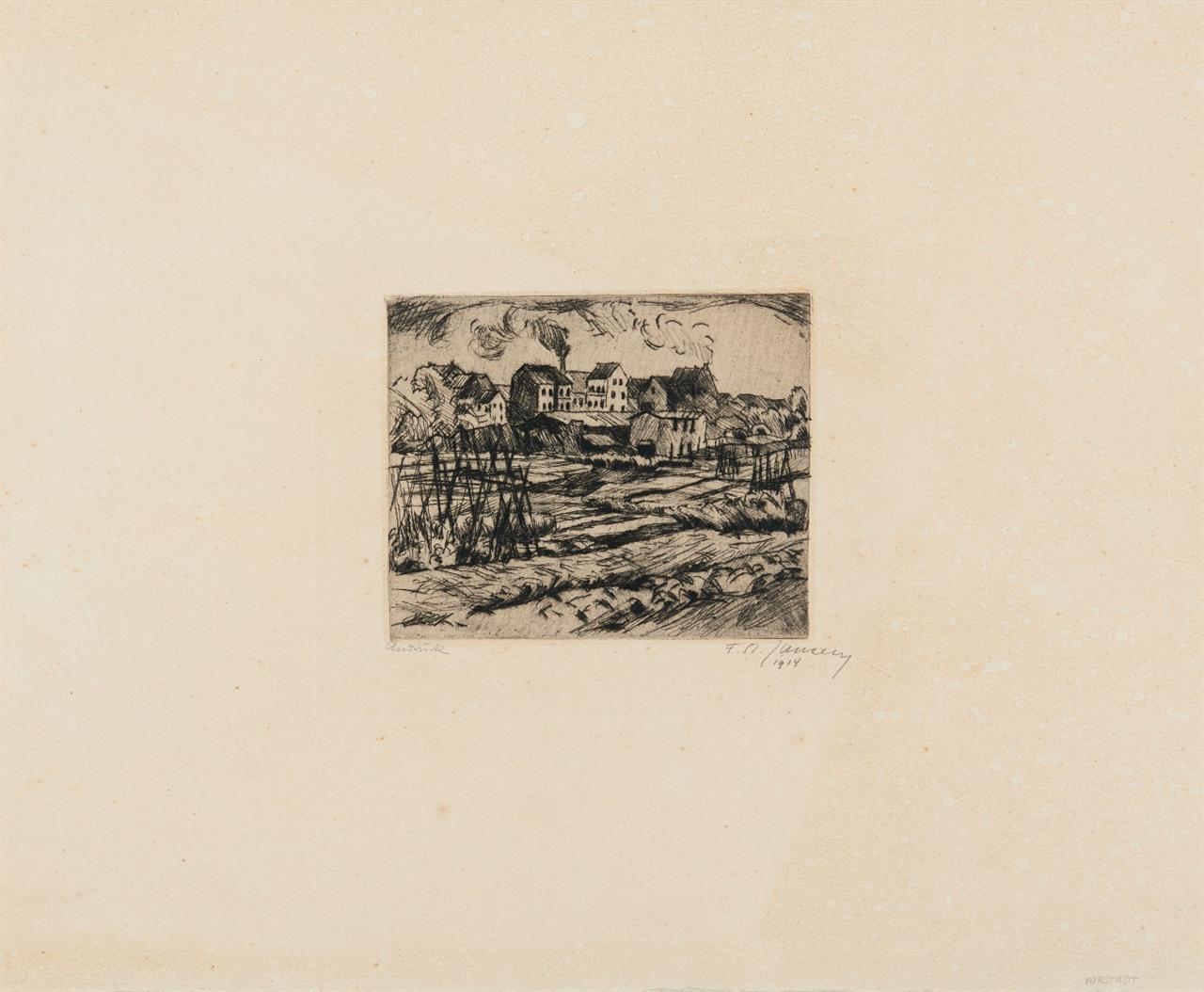 Franz Maria Jansen. Vorstadtwiese. 1914. Radierung. Signiert. Andruck. Merholz 105.