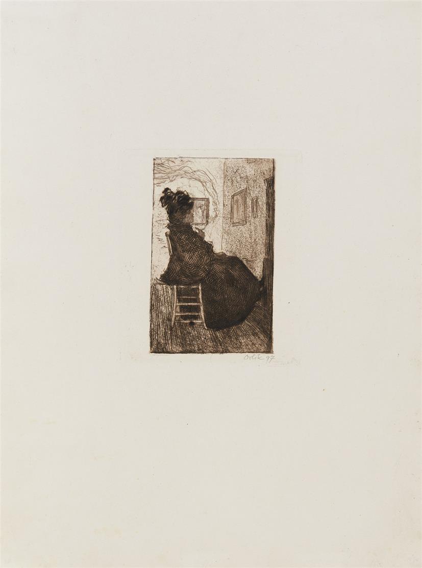 Emil Orlik. Im Atelier. 1897. Radierung. Signiert.