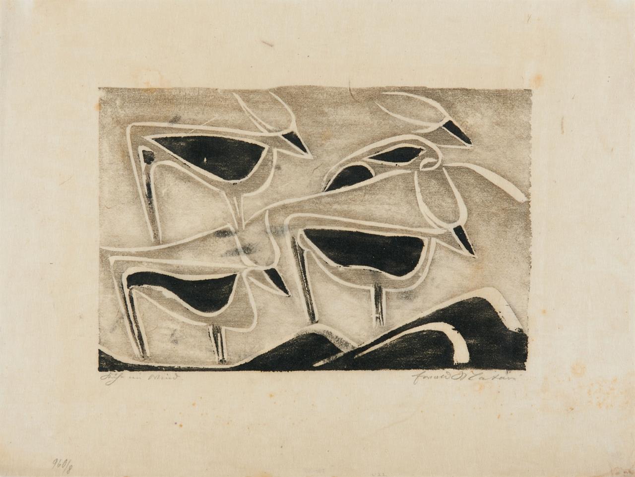 Ewald Mataré. Kühe im Wind. 1928. Holzschntt. Signiert. Mataré /De Werd 156.
