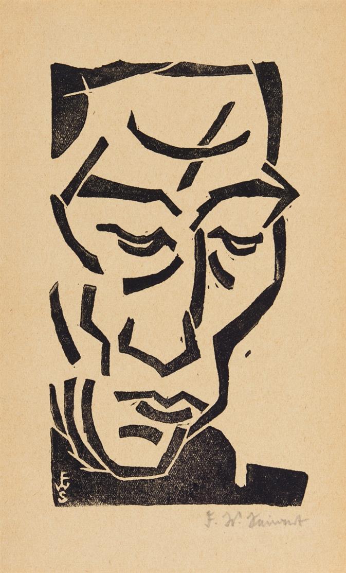 Franz Wilhelm Seiwert. Kopf im Dreiviertel-Profil. Holzschnitt. Signiert.