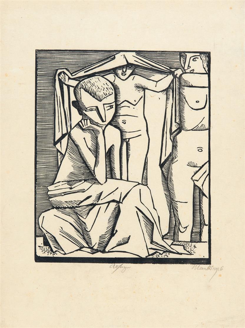 Gerhard Marcks. Absage (Urteil des Paris). 1925/26. Holzschnitt. Signiert. Lammek H 125.