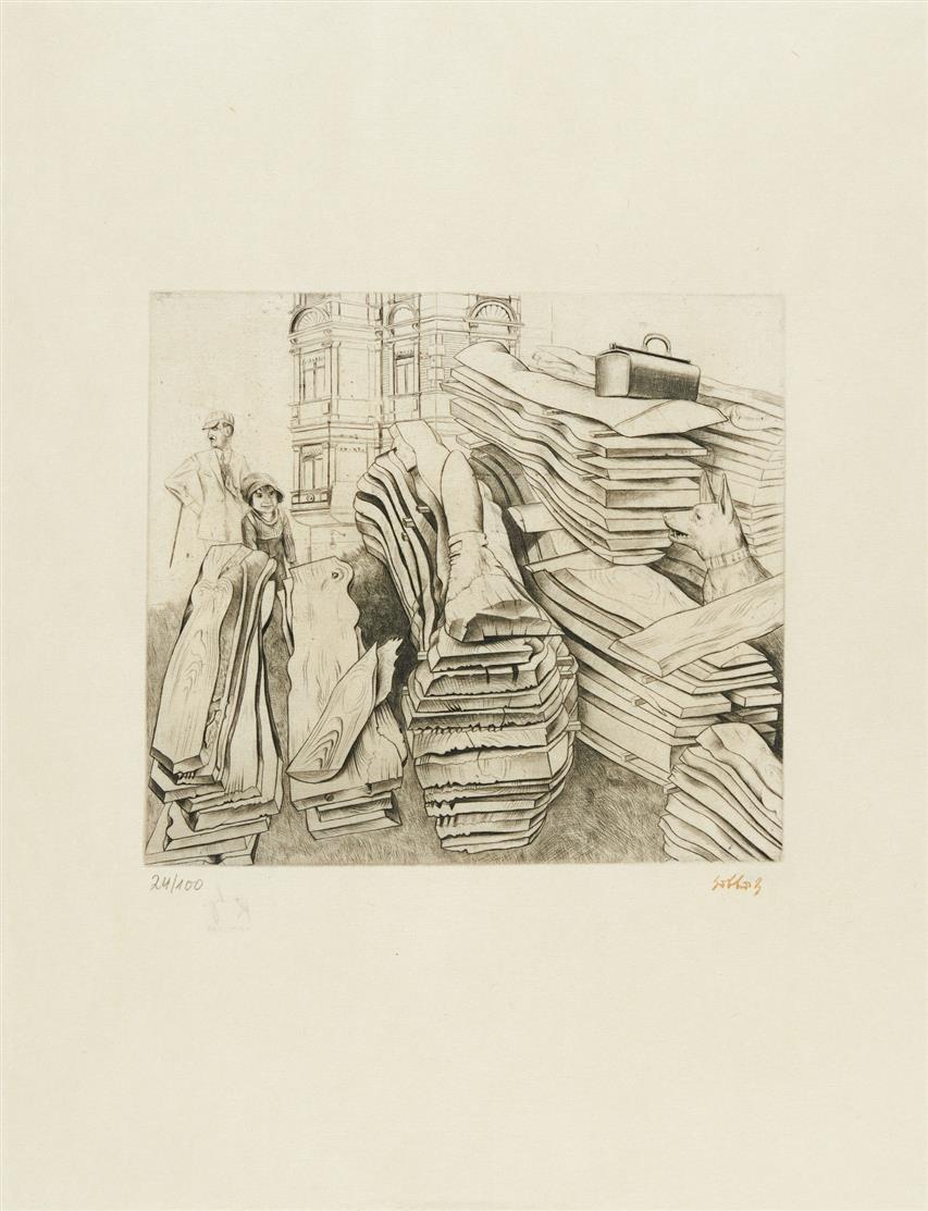 Karl Hubbuch. Sicher wird er ihn finden. 1924. Kaltnadelradierung. Signaturstempel. Ex. 24/100.