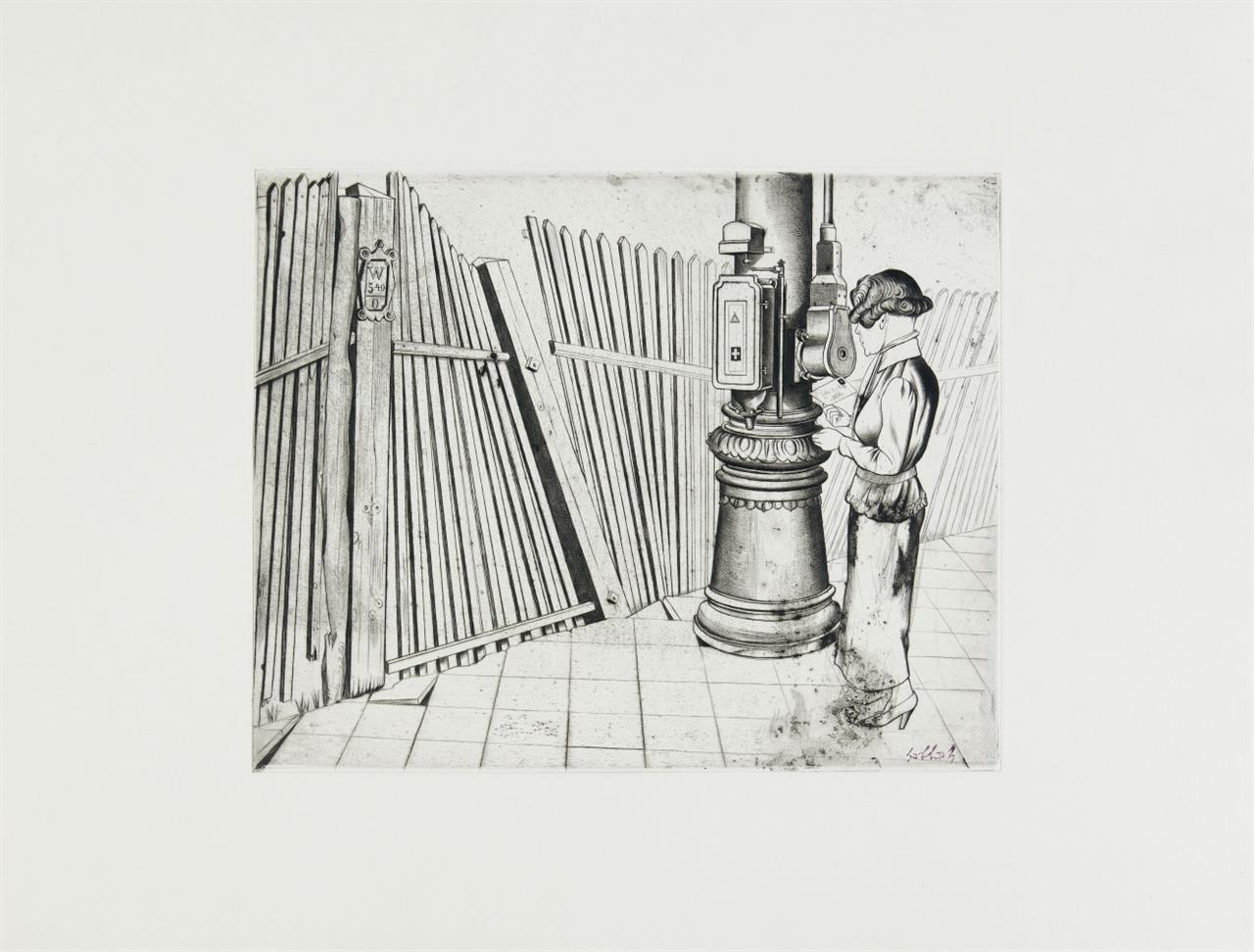 Karl Hubbuch. Der Brief (Rohrpost). Kaltnadelradierung. Signaturstempel.