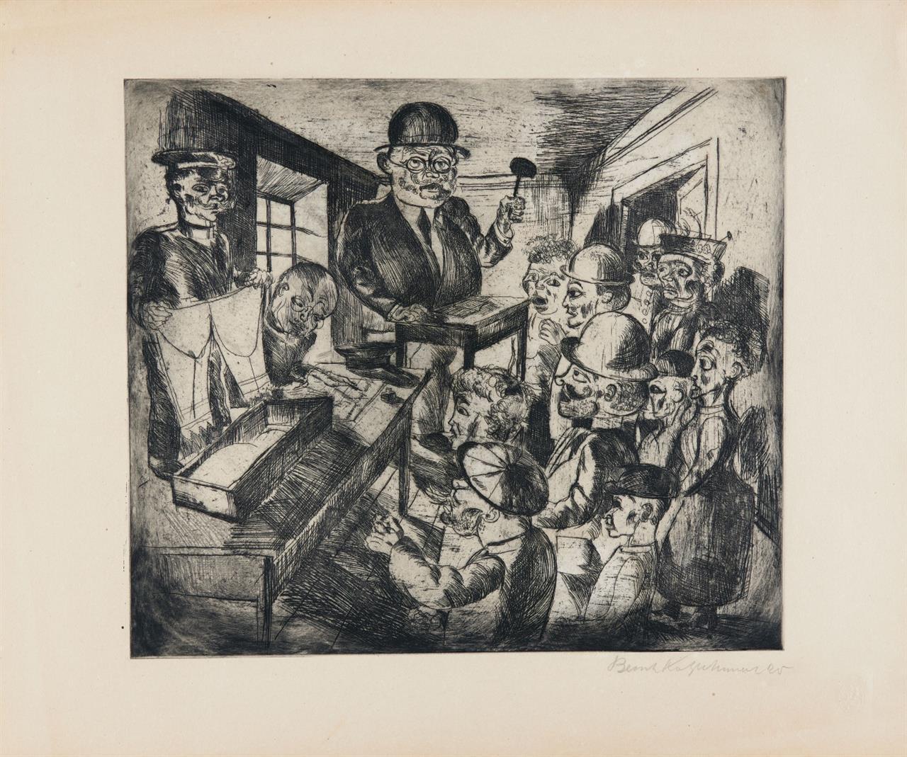 Bernhard Kretzschmar. Der Auktionator. 1920. Radierung. Signiert.
