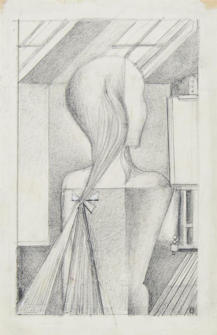 Gottfried Brockmann. Atelierbesuch. Bleistift. Monogrammiert.