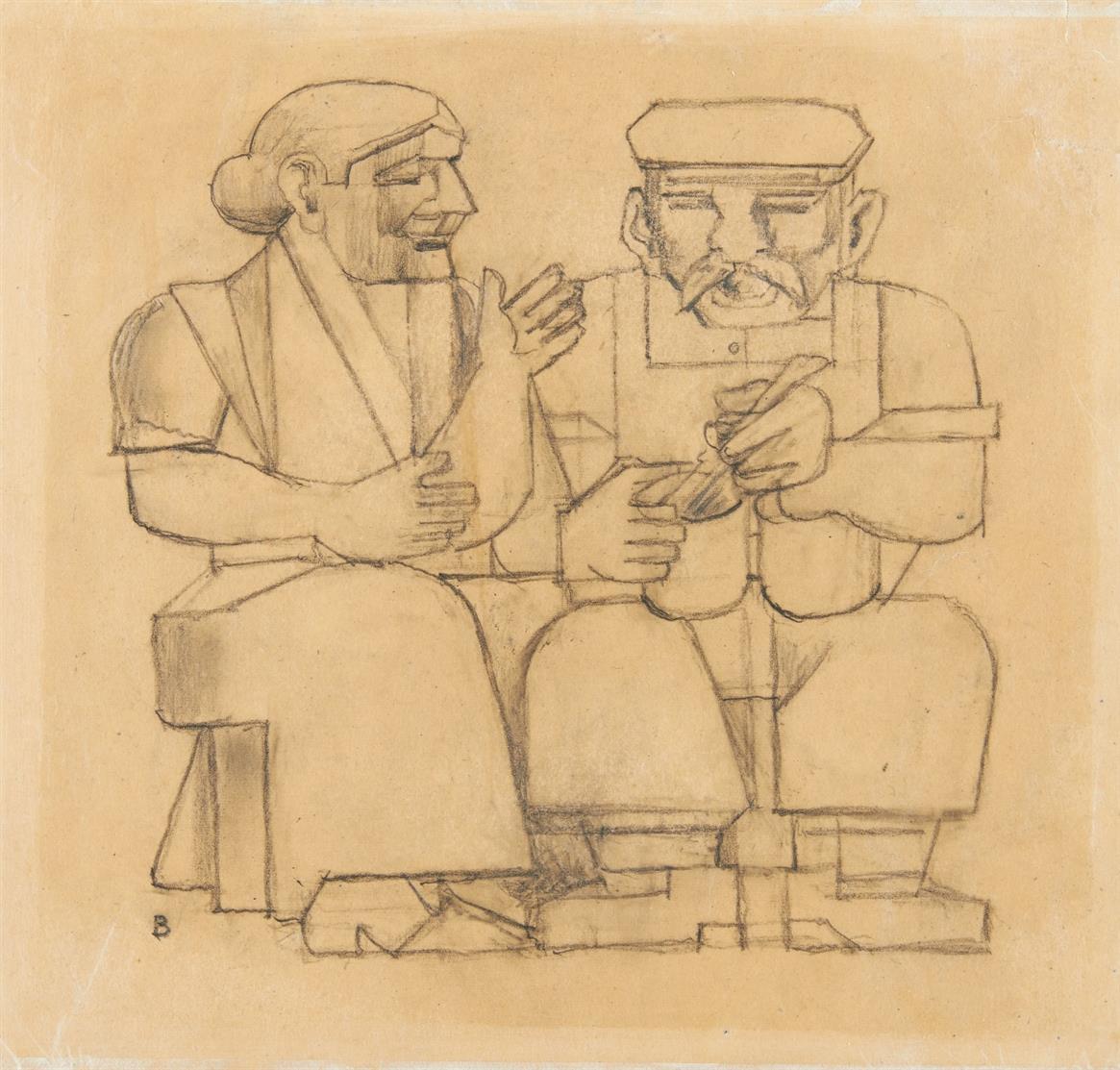 Gottfried Brockmann. Bauarbeiterpaar (Mittag am Bau). 1926. Bleistift. Monogrammiert.