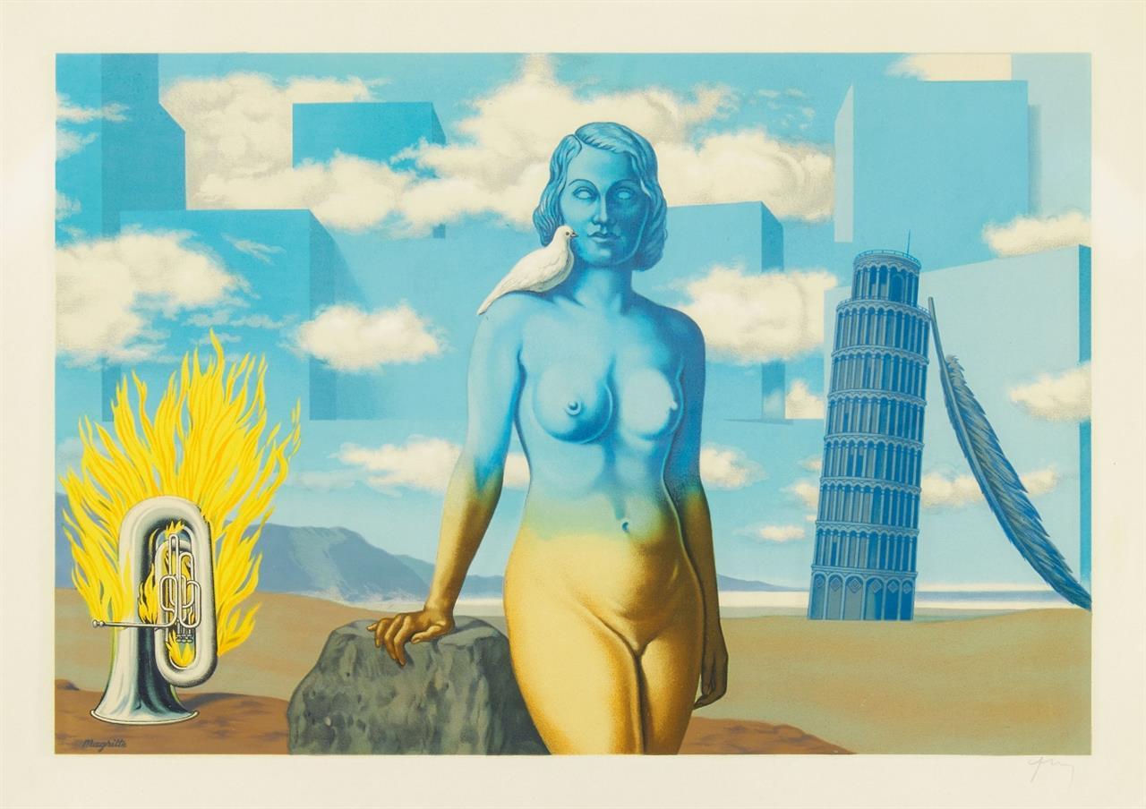 René Magritte (nach). Un Bombardon Libère son Bouquet de Flammes. (Aus: Les Enfants Trouves). 1968. Lithographie. Monogrammiert von F. Mourlot.