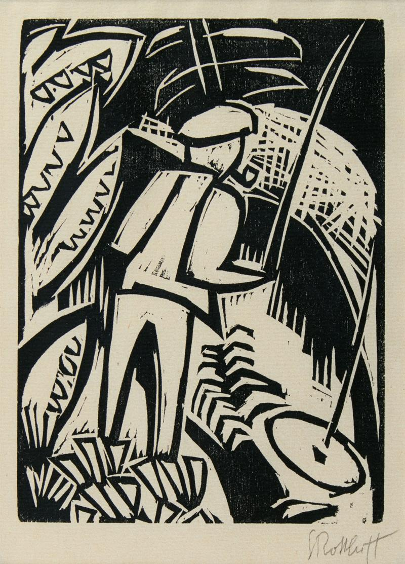 Karl Schmidt-Rottluff. Angler. 1923. Holzschnitt. Signiert. R. 4.