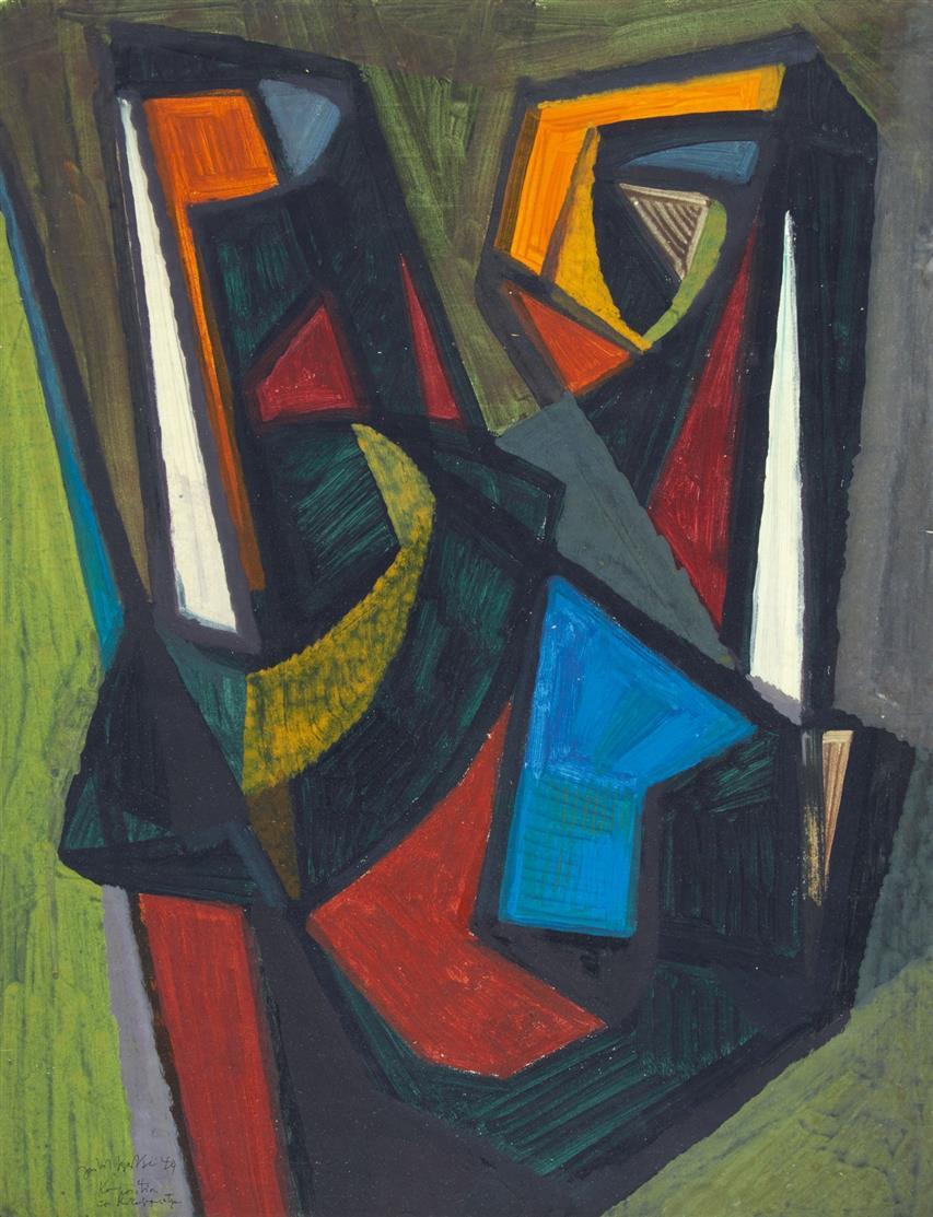 Hubert Berke. Komposition mit starken Gegensätzen. 1949. Gouache. Signiert.