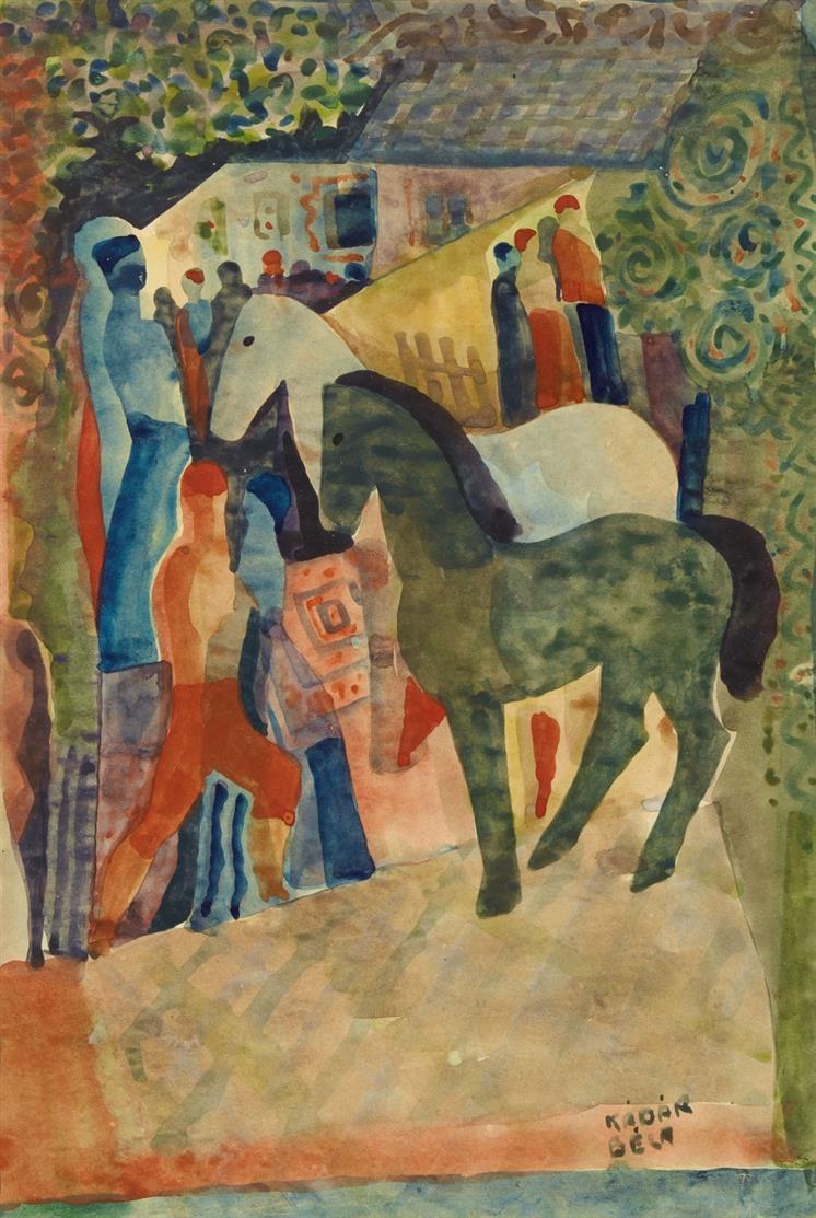 Béla Kádár. Pferde und Menschen. Aquarell. Signiert.