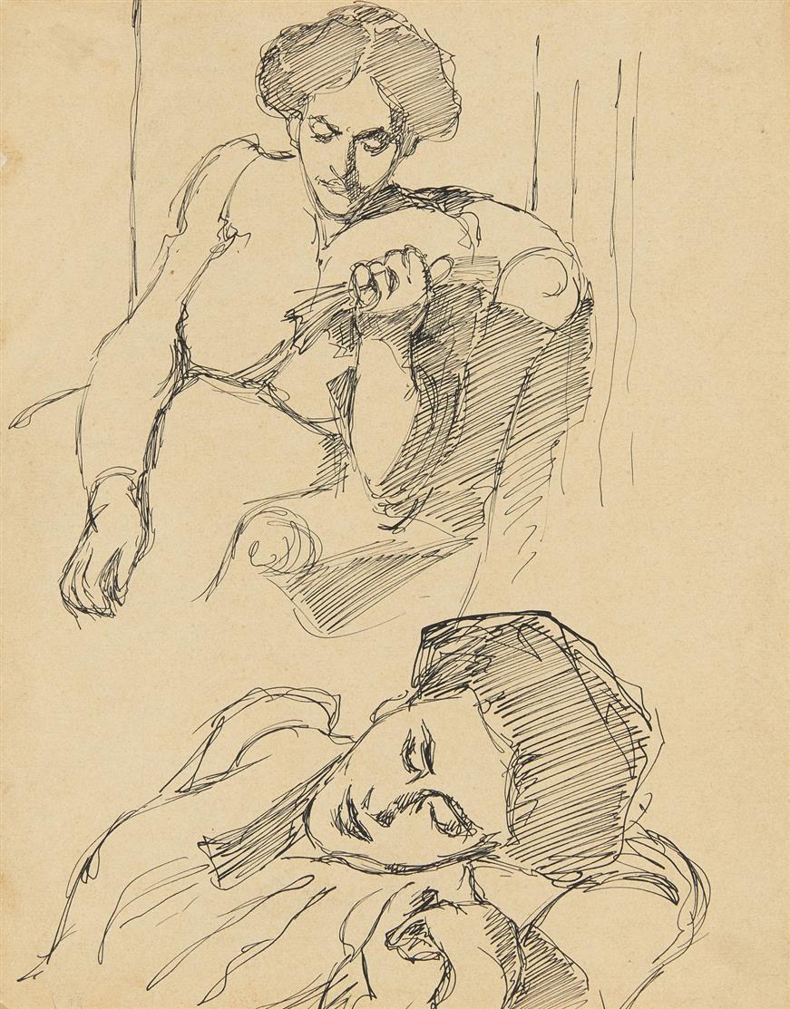 Béla Kádár. Frauen. Skizze. Feder. Mit Nachlassstempel.
