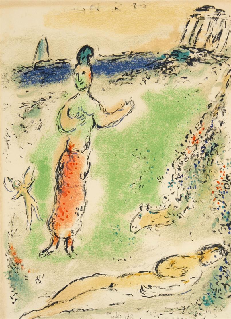 Marc Chagall. Athene senkt Odysseus in den Schlaf. (Aus: Odyssee II) 1975. Farblithographie. Mourlot 815.