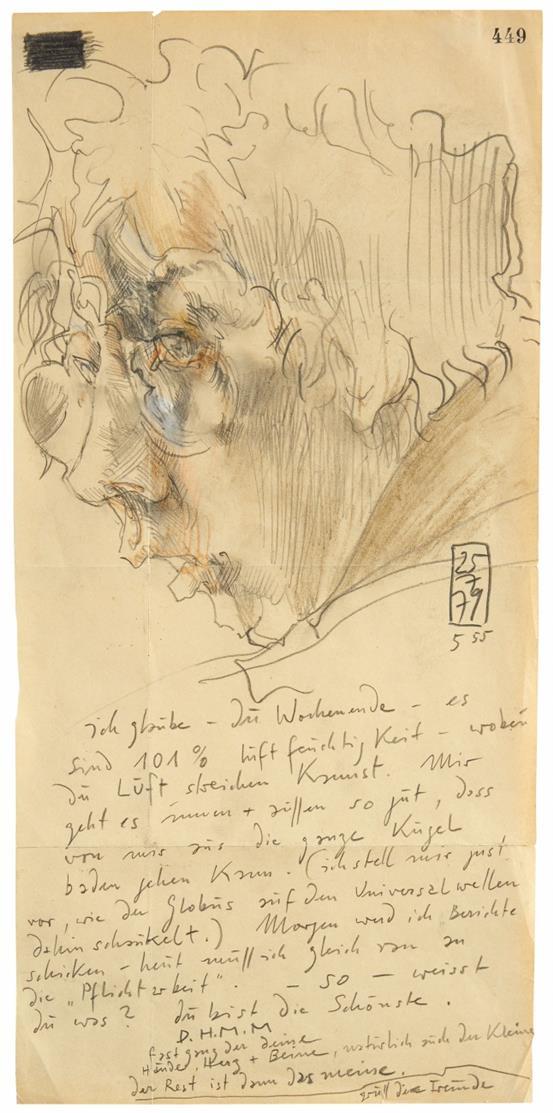 Horst Janssen. Selbstbildnis. 1979. Bleistift und Buntstift, mit Malerbrief. Bezeichnet D.H.M.M.
