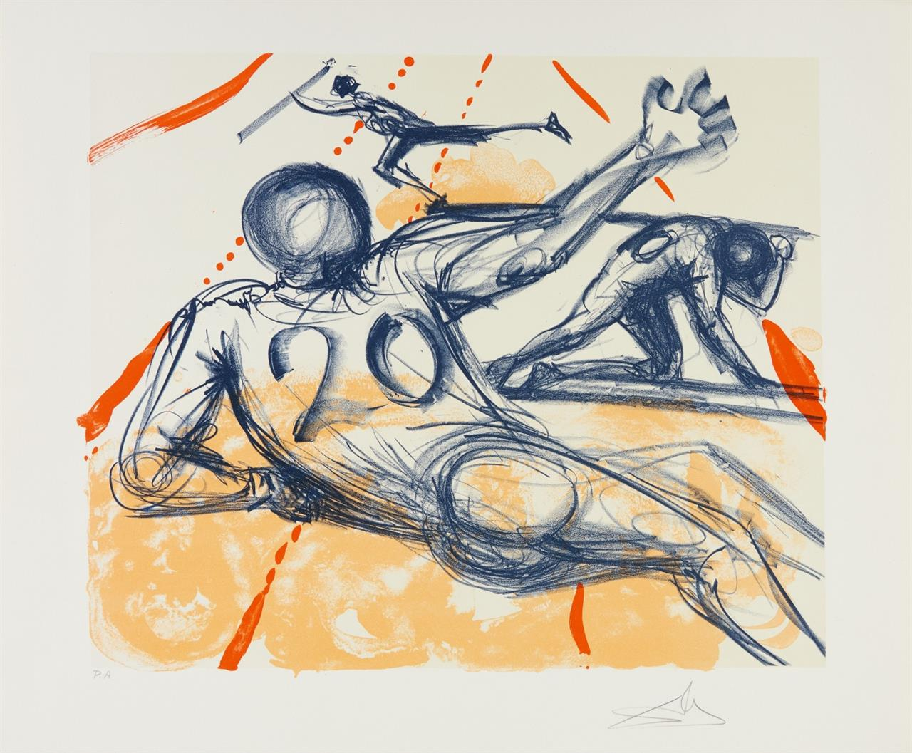 Salvador Dalí. Sports. 1973. Farblithographie. Signiert. Ex. P.A. ML 1424; F.73-2 B.