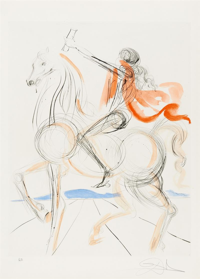 Salvador Dalí. Chevalier Léonardesque (aus: Hommage à Léonardo). 1975. Farbradierung. Signiert. Ex. A.P. ML765; F.S. 220.