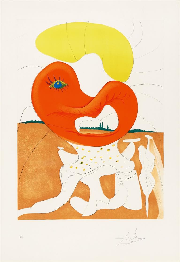 Salvador Dalí. Le sang du yin et le yang.1974. Radierung, Farblithographie, Prägung. Signiert. Ex. A.P. ML 652; F. 74-12L.