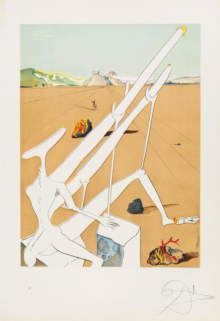 Salvador Dalí. Dalí martian muni d'un double microscope ... 1974. Radierung, Farblithographie, Prägung. Signiert. Ex. A.P. ML 644; F. 74-12C