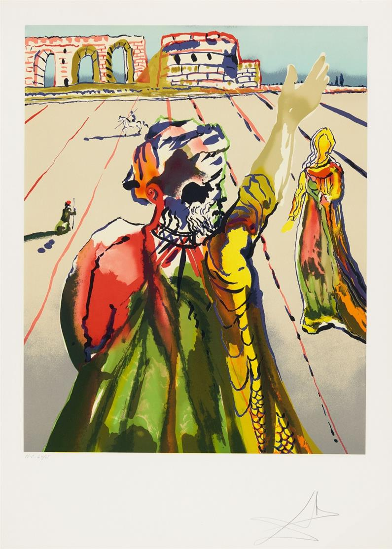 Salvador Dalí. The Poet Advising the Maiden (The Hand). 1978. Farblithographie. Signiert. Ex. H.C. 64/65. ML 1550; F. 79-1.
