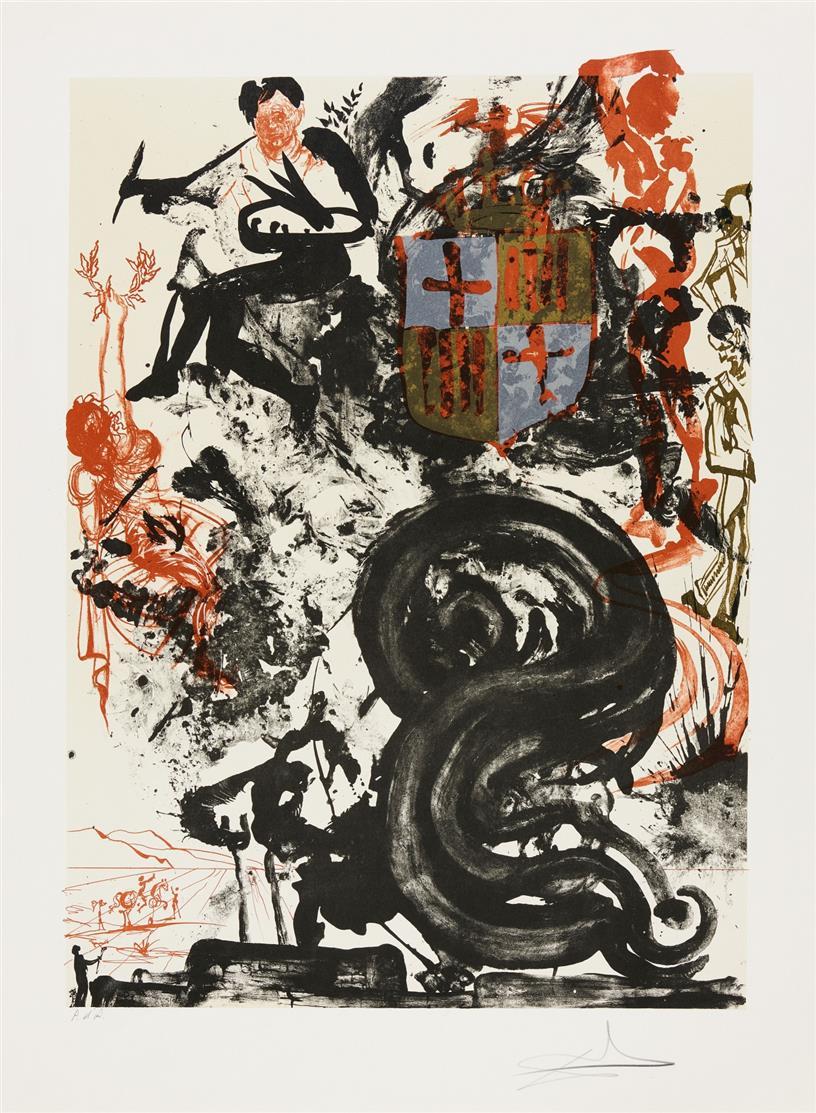 Salvador Dalí. Monument de Picasso. 1973. Farblithographie. Signiert. Ex. P.d'A. ML 1391.