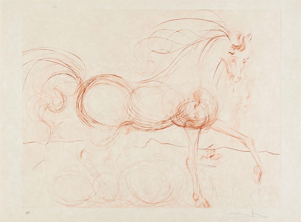 Salvador Dali. L'Etalon Blanc (Hommage au cheval). 1973/74. Kaltnadelradierung in Siena. Signiert. Ex. A.P. ML. 639; F. 74-9.