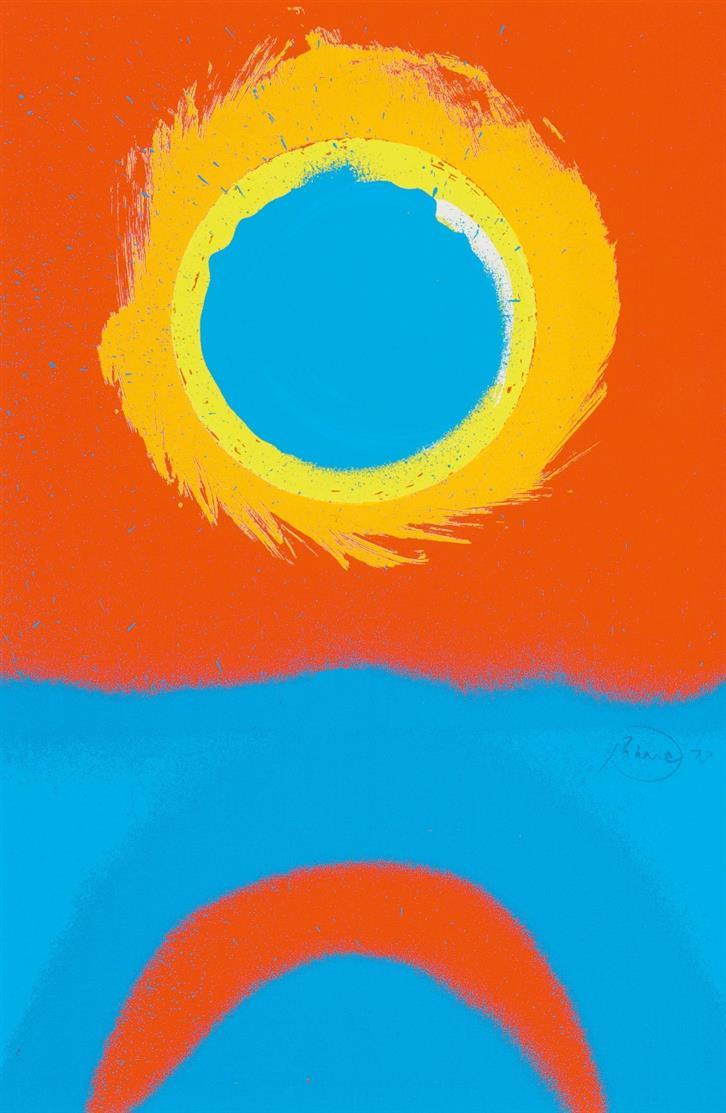 Otto Piene. Hundertblatt 14 zum Hundertdruck 14 (zu: Insel). 1973. Farbserigraphie. Signiert.