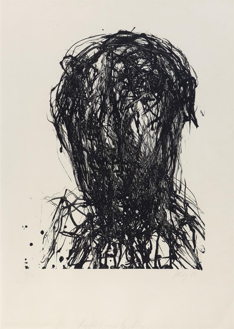 Max Uhlig. Kopf. 1986. Lithographie. Signiert. Eines von 20 Ex.